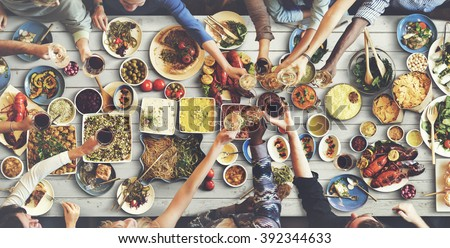 Friends Happiness Enjoying Dinning Eating Concept #392344633