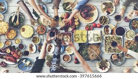 Friends Happiness Enjoying Dinning Eating Concept #397615666