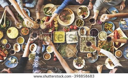 Friends Happiness Enjoying Dinning Eating Concept ストックフォト ©