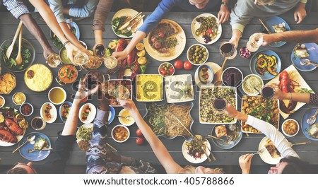 Friends Happiness Enjoying Dinning Eating Concept #405788866