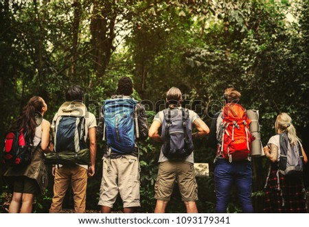 Friends hiking in a forest
