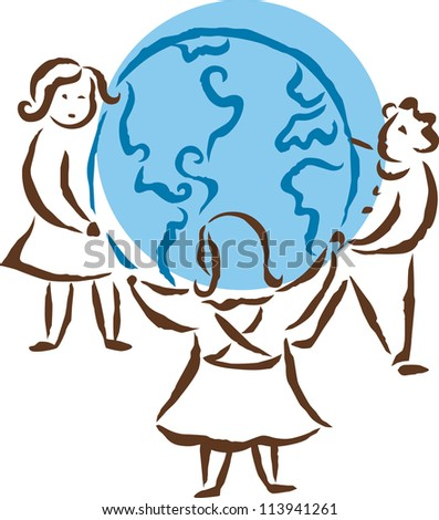 Friends holding hands around the globe