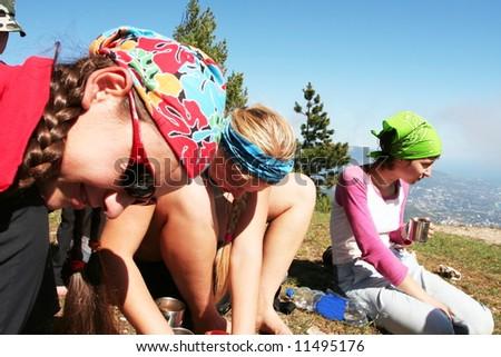 Friends on halt in hike