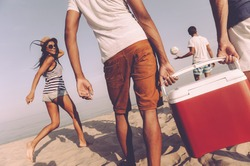 Friends on the beach. Rear view of cheerful young people walking by the beach to the sea while two men carrying plastic cooler