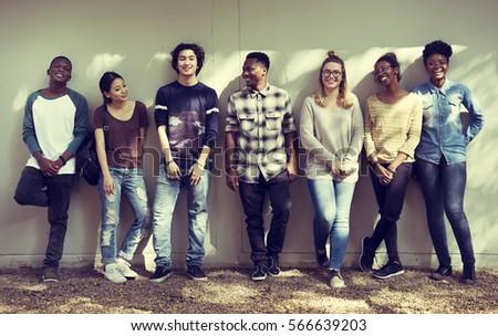 Friends People Group Teamwork Diversity #566639203