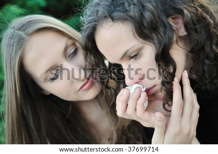 stock photo : Friends series - detail of two teenage girls, one comforts and ...