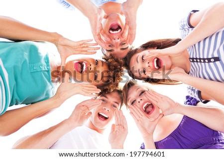 Friends shouting