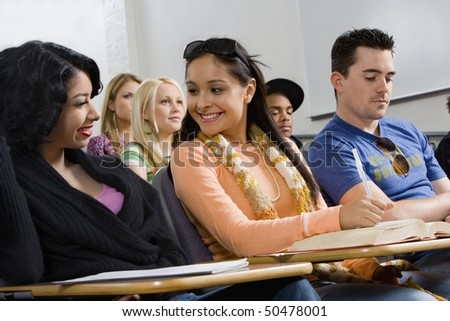 Friends sitting in class lecture