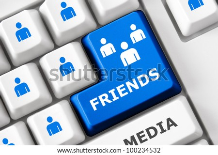 Friends text and people symbols on the modern keyboard. Social media concept