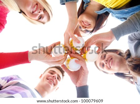 Friends toasting success on party