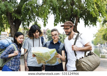 Friends Travel Backpacker Adventure Concept #531124966