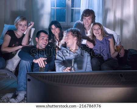 Friends watching a movie.
