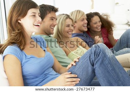 Friends Watching Television Together
