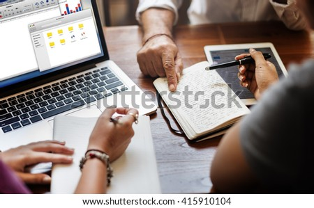 Friends Working Discussion Meeting Sharing Ideas Concept - Shutterstock ID 415910104