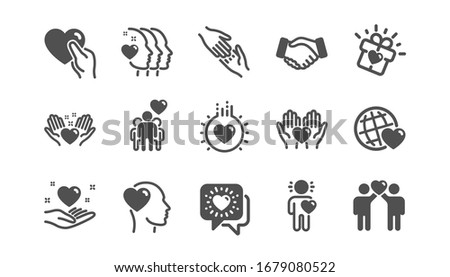 Friendship and love icons. Interaction, Mutual understanding and assistance business. Trust handshake, social responsibility icons. Classic set. Quality set.