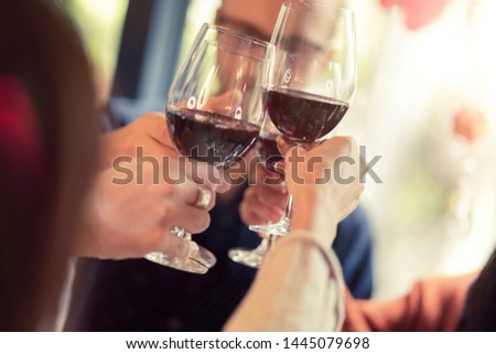 friendship caucasian and asian friend dinner and casual talk together with happiness and joyful #1445079698