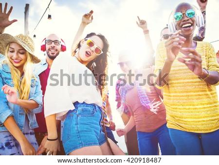 Friendship Dancing Bonding Beach Happiness Joyful Concept #420918487