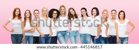 Shutterstock friendship, diversity, body positive and people concept - group of happy women of different age size and ethnicity in white t-shirts hugging over pink background