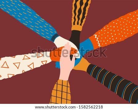 Friendship hands. Stack of different people hands, friends or team trendy concept.  cooperation and teamwork interracial teamwork poster