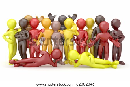 Friendship. Teamwork. Group of people on white isolated background. 3d - stock photo