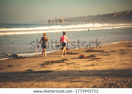 Friendship. Women walking on a beach. Young women walking together, on a sunny day, at the beach.