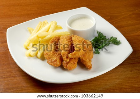 Fries  and Chicken Nuggets.closeup