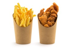 fries and nuggets in paper boxes on white background