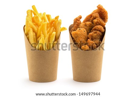fries and nuggets in paper...
