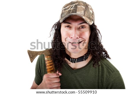 Frightening man with an eastern european axe