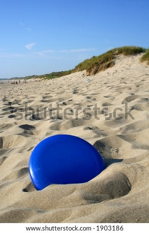 Frisbee in sand
