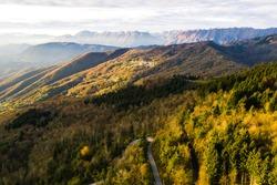 Friuli Venezia Giulia drone landscape, Prealpi Giulie mountains, Montemaggiore