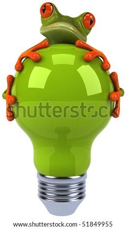 Frog and light bulb - stock photo
