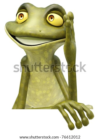 frog cartoon in white sign - stock photo