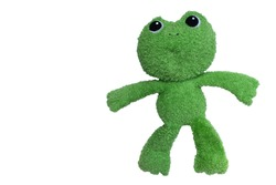Frog doll, made of soft green fur, isolate