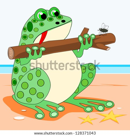 Frog holding a log. A cartoon frog holding a log. He is so tired that ...