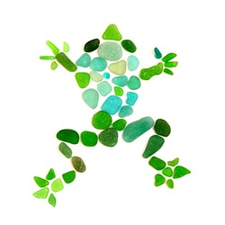 Frog mosaic made of sea glass isolated on  white