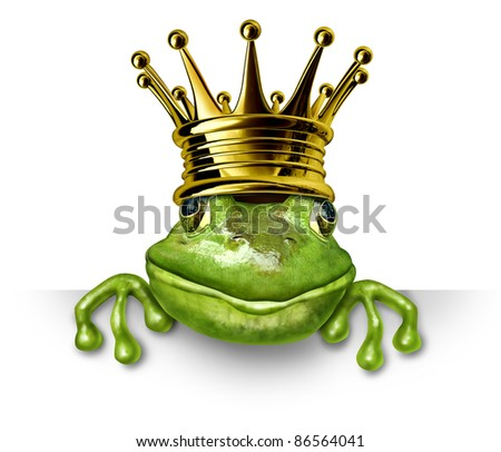 Frog prince with gold crown holding a blank sign representing the fairy tale concept of change and transformation from an amphibian to royalty.