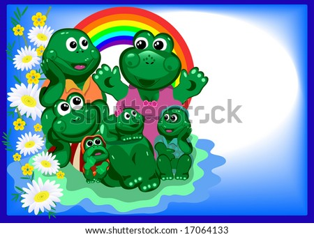 Frogs. Frog tells his mom a happy family and the young at the blue background with flowers JPG (See Vector  Also In My Portfolio)