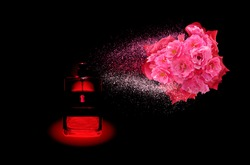 From a glass bottle located on a black background, a directed jet sprays a perfume composition of scents of scarlet rose and carnation flowers.