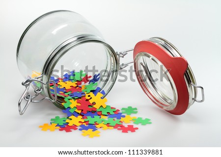 From a jar puzzle elements are distributed.