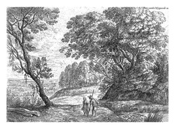 From a series of six. Woody landscape with a man and a woman talking.