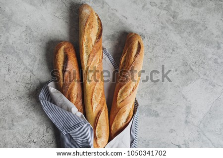 From above photo of french baguette bread.