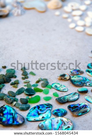 From above photo of shells, glass, stones, mother of pearl and Paua Shell in a circle - semi circle.  #1568045434
