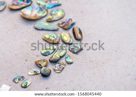 From above photo of shells, glass, stones, mother of pearl and Paua Shell in a circle - semi circle.  #1568045440