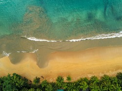 From above  the beauty of the sand mixed with the sea at Bom Bom beach in Prince Island,Sao Tome e Principe. Príncipe is the world's first Biosphere Reserve by UNESCO