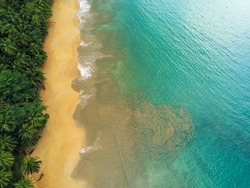 From above the the beauty of the sand mixed with the sea at Bom Bom beach in Prince Island,Sao Tome e Principe