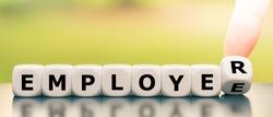 From an employee to an employer. Hand turns a dice and changes the word