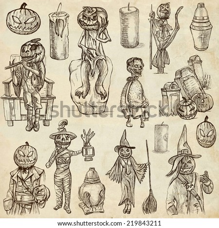 From Halloween theme, JACK O LANTERN - Collection of an hand drawn illustrations. Description: Full sized hand drawn illustrations drawing on old paper.