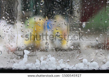 from inside the car during hailstorm #1500545927