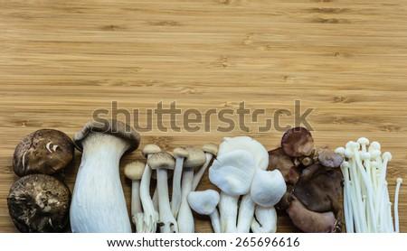From left; Shiitake, King trumpet mushroom (Eringi), Brown beech mushroom (Shimeji), Indian Oyster mushroom, Jew\'s ear Mushroom, Golden needle mushroom (Enokitake)